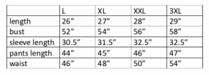 Sizes of Sauna Suit